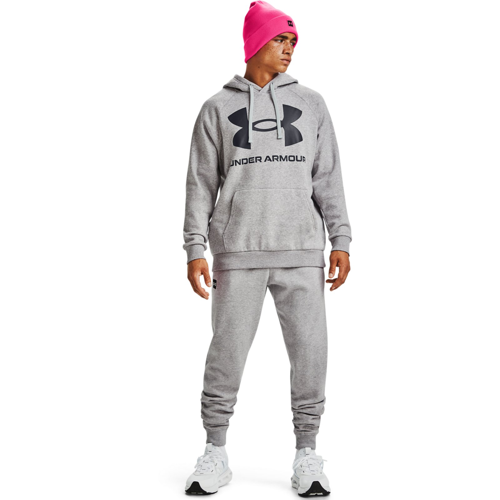 Худи Rival Fleece Big Logo Hoodie Under Armour Серый