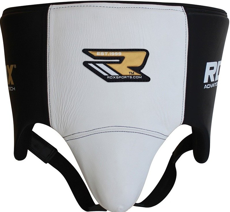 Бандаж RDX Groin Guard Leather Black/White